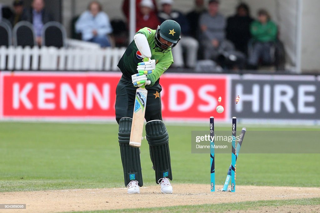 Mohammad Amir of Pakistan is bowled during the third game of the One Day International Series between New Zealand and Pakistan at University of Otago Oval on January 13, 2018 in Dunedin, New Zealand.