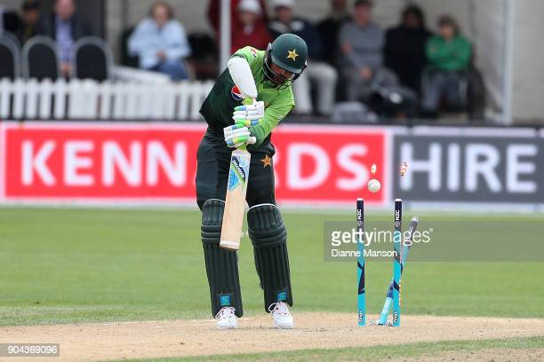 Mohammad Amir of Pakistan is bowled during the third game of the One Day International Series between New Zealand and Pakistan at University of Otago...