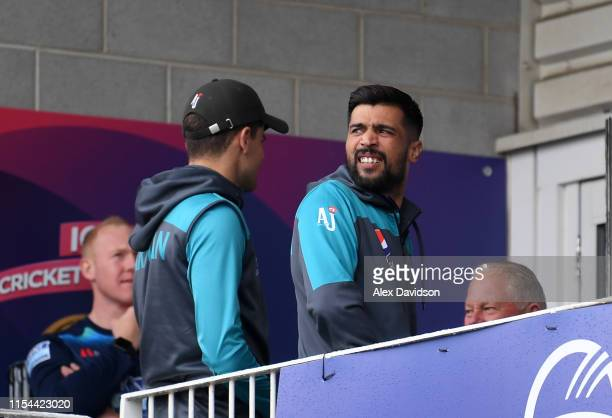 Mohammad Amir of Pakistan looks on during the Group Stage match of the ICC Cricket World Cup 2019 between Pakistan and Sri Lanka at Bristol County...