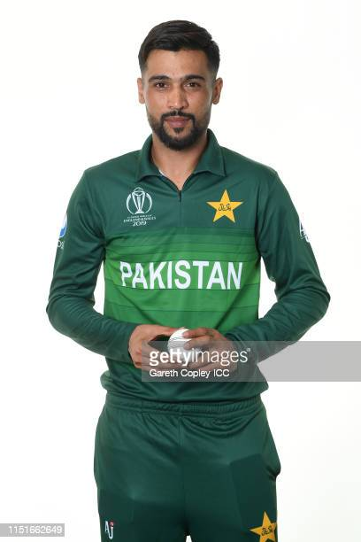 Mohammad Amir of Pakistan poses for a portrait prior to the ICC Cricket World Cup 2019 at on May 25 2019 in Cardiff Wales