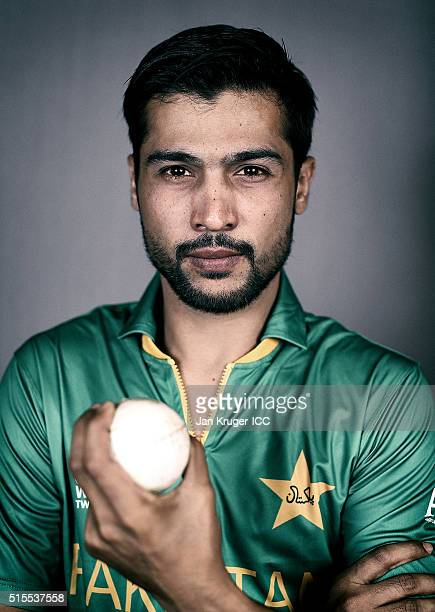 Mohammad Amir poses during a Pakistan headshots session on March 14 2016 in Kolkata India