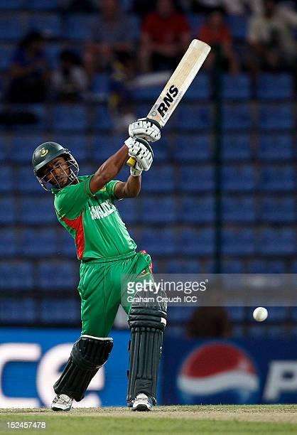 Mohammad Ashraful of Bangladesh bats during the ICC World T20 Group D match between New Zealand and Bangladesh at Pallekele Cricket Stadium on...
