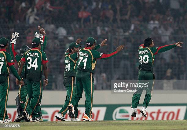 Mohammad Ashraful of Bangladesh celebrates his dismissal of Andrew White of Ireland during the 2011 ICC World Cup Group B match between Bangladesh...