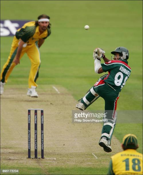 Mohammad Ashraful of Bangladesh gets well outside his off stump and attempts to pull the delivery of Australia's Jason Gillespie on his way to a big...