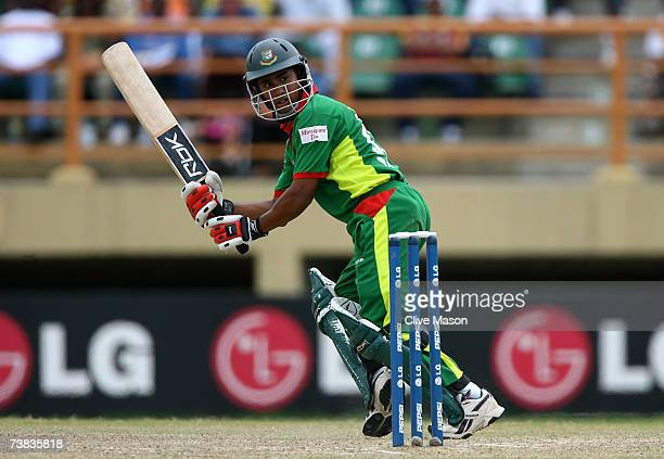 Mohammad Ashraful of Bangladesh in action on his way to a half century during the ICC Cricket World Cup Super Eights match between Bangladesh and...