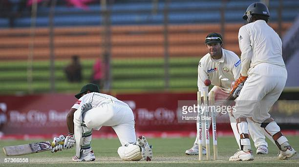 Mohammad Ashraful of Bangladesh is bowled by Shane Warne of Australia during day four of the Second Test between Bangladesh and Australia played at...