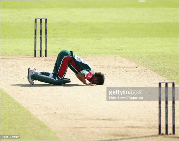Mohammad Ashraful of Bangladesh kisses the wicket after he reached his century during the NatWest One Day International against Australia at Sophia...