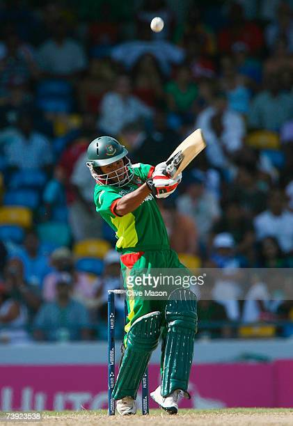 Mohammad Ashraful of Bangladesh plays the shot which led to his dismissal by Daren Powell of West Indies during the ICC Cricket World Cup Super...