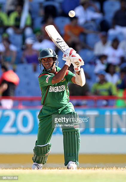 Mohammad Ashraful of Bangladesh scores runs during The ICC World Twenty20 Group A match between Pakistan and Bangladesh played at The Beausejour...