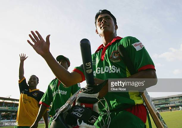 Mohammad Ashraful of Bangladesh waves to the crowd at the end of the ICC Cricket World Cup 2007 Group B match between Bangladesh and India at the...