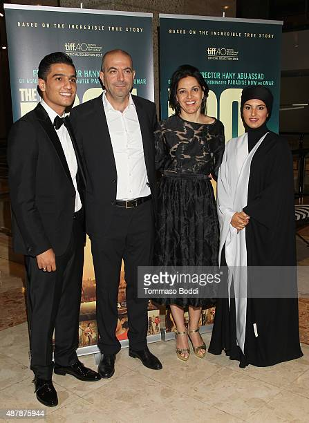 Mohammad Assef Director Hany AbuAssad Producer Amira Diab and CEO of the Doha Film Institute Fatma Al Remaihi attend the World Premiere of Hany...