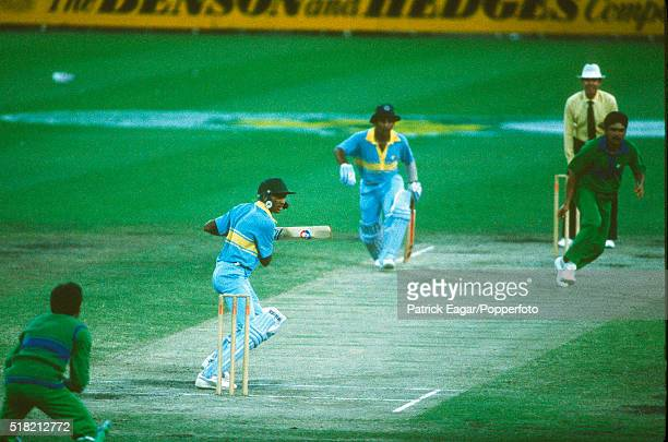 Mohammad Azharuddin of India batting with Sunil Gavaskar during the 3rd match in the World Championship of Cricket, between India and Pakistan at...