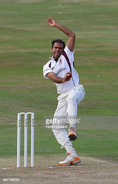 Mohammad Azharullah of Northants bowls during the LV County Championship division two match between Northamptonshire and Leicestershire at The County...