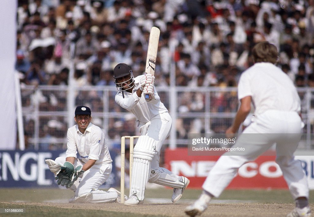 Mohammad Azhuraddin batting for India during the 2nd One Day International match between India and South Africa at the Captain Roop Singh Stadium in Gwalior, India, 12th November 1991. The South African wicketkeeper is Dave Richardson. India won by 38 runs.