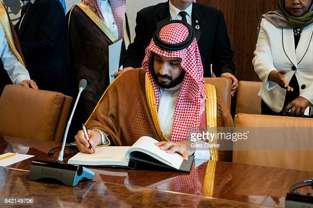 Mohammad bin Salman Al Saud and UN Secretary General Ban Kimoon meet at United Nations headquarters on June 22 in New York City to discuss recent...