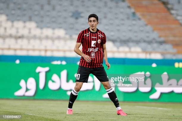 Mohammad Ehsan Hosseini of Padideh looks on during the Persian Gulf Pro League match between Esteghlal and Padideh FC at Azadi Stadium on June 21,...