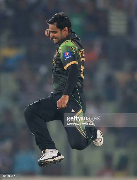 Mohammad Hafeez captain of Pakistan celebrates the wicket of Chris Gayle of the West Indies after he was stumped by Kamran Akmal during the ICC World...