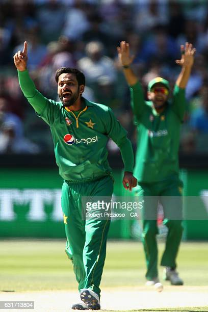 Mohammad Hafeez of Pakistan appeals unsuccessfully during game two of the One Day International series between Australia and Pakistan at Melbourne...