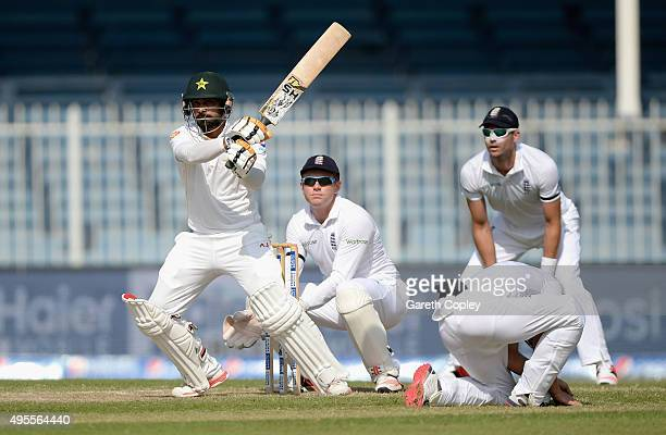 Mohammad Hafeez of Pakistan bats during day four of the 3rd Test between Pakistan and England at Sharjah Cricket Stadium on November 4 2015 in...