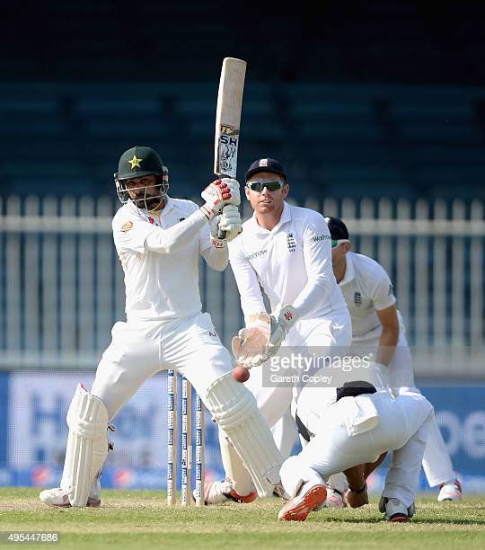 Mohammad Hafeez of Pakistan bats during day three of the 3rd Test between Pakistan and England at Sharjah Cricket Stadium on November 3 2015 in...