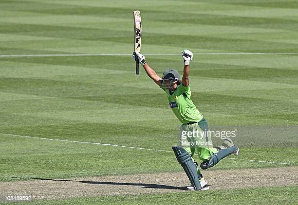 Mohammad Hafeez of Pakistan celebrates 100 runs during game three of the One Day International series between New Zealand and Pakistan at AMI Stadium...