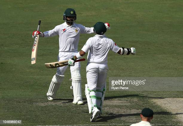Mohammad Hafeez of Pakistan celebrates after reaching his century during day one of the First Test match in the series between Australia and Pakistan...