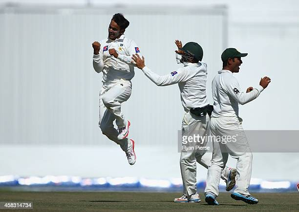Mohammad Hafeez of Pakistan celebrates after taking the wicket of Mitch Marsh of Australia during Day Five of the Second Test between Pakistan and...