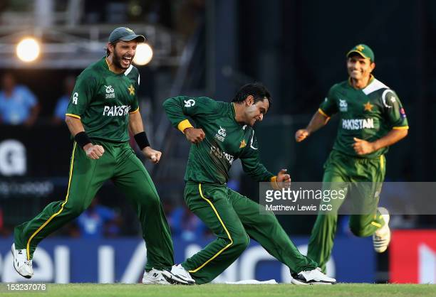 Mohammad Hafeez of Pakistan celebrates bowling David Warner of Australia for LBW during the ICC World Twenty20 2012 Super Eights Group 2 match...