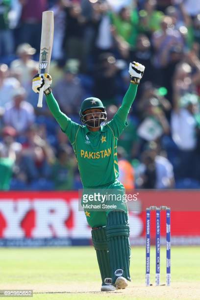 Mohammad Hafeez of Pakistan celebrates hitting the winning runs and victory by 8 runs during the ICC Champions Trophy SemiFinal match between England...