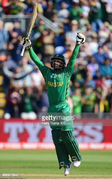 Mohammad Hafeez of Pakistan celebrates victory during the ICC Champions Trophy Semi Final match between England and Pakistan at the SWALEC Stadium on...