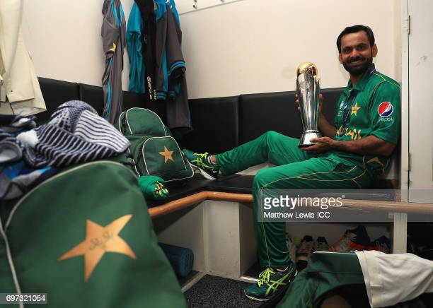 Mohammad Hafeez of Pakistan celebrates with the ICC CCHampions Trophy after his team win over India during the ICC Champions Trophy Final between...