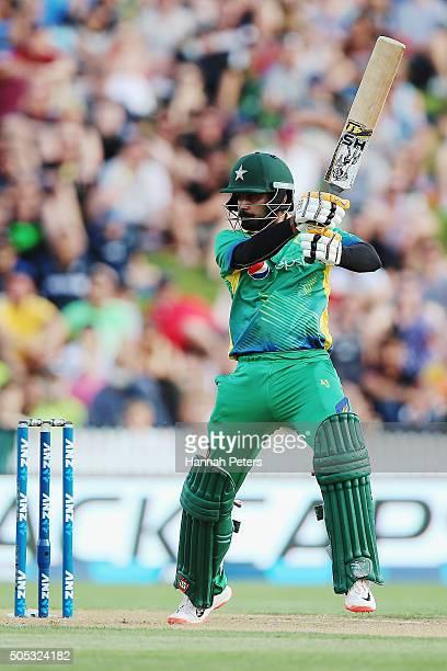 Mohammad Hafeez of Pakistan cuts the ball away for four runs during the International Twenty20 match between New Zealand and Pakistan at Seddon Park...