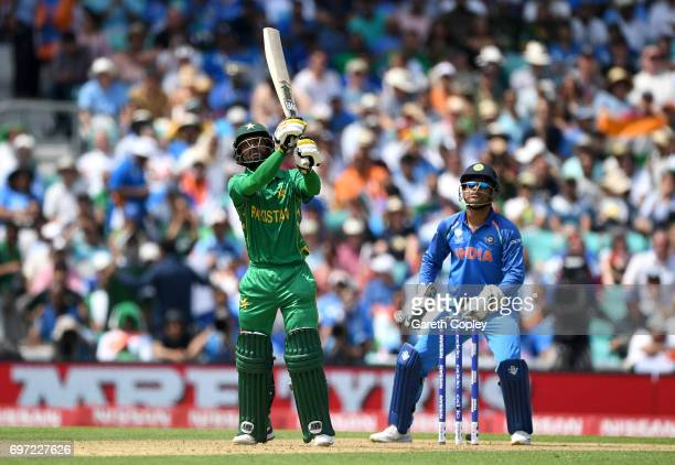 Mohammad Hafeez of Pakistan hits out for six runs during the ICC Champions Trophy Final between India and Pakistan at The Kia Oval on June 18 2017 in...