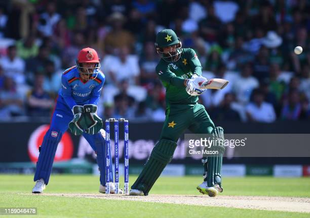 Mohammad Hafeez of Pakistan in action batting as Ikram Ali Khil of Afghanistan looks on during the Group Stage match of the ICC Cricket World Cup...