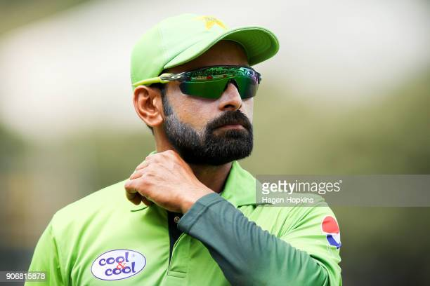 Mohammad Hafeez of Pakistan looks on while playing his 200th ODI during game five of the One Day International Series between New Zealand and...