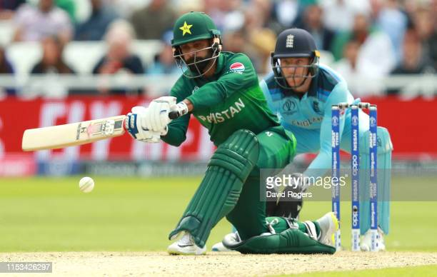 Mohammad Hafeez of Pakistan sweeps the ball during the Group Stage match of the ICC Cricket World Cup 2019 between England and Pakistan at Trent...