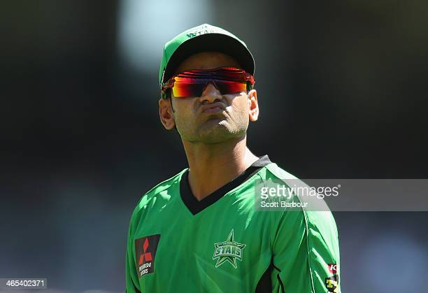 Mohammad Hafeez of the Stars looks on during the Big Bash League match between the Melbourne Stars and the Perth Scorchers at Melbourne Cricket...