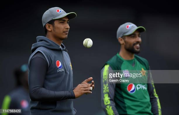 Mohammad Hasnain and Mohammad Amir of Pakistan at The Kia Oval on May 07 2019 in London England