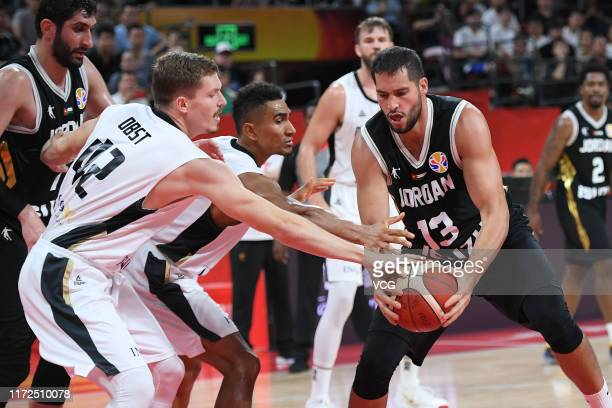 Mohammad Hussein of Jordan handles the ball during FIBA World Cup 2019 Group G match between Germany and Jordan at Shenzhen Bay Sports Center on...