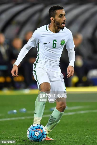 Mohammad Ibrahim Alburayk of Saudi Arabia controls the ball during the 2018 FIFA World Cup Qualifier match between the Australian Socceroos and Saudi...
