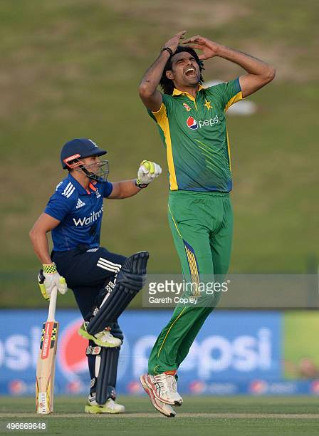 Mohammad Irfan of Pakistan reacts after bowling alongside James Taylor of England during the 1st One Day International between Pakistan and England...