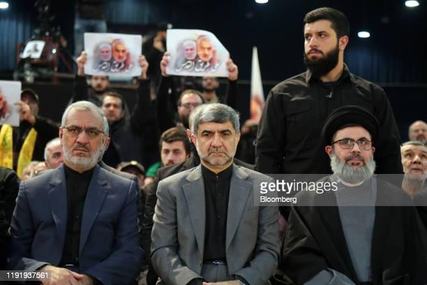 Mohammad Jalal Firouznia, Irans ambassador to Lebanon, center, sits with Sayyed Hashem Safieddine, a senior Hezbollah official, right, as Hassan...