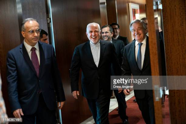 Mohammad Javad Zarif the foreign minister of Iran and UN SecretaryGeneral Antonio Guterres arrive for a meeting at United Nations headquarters July...