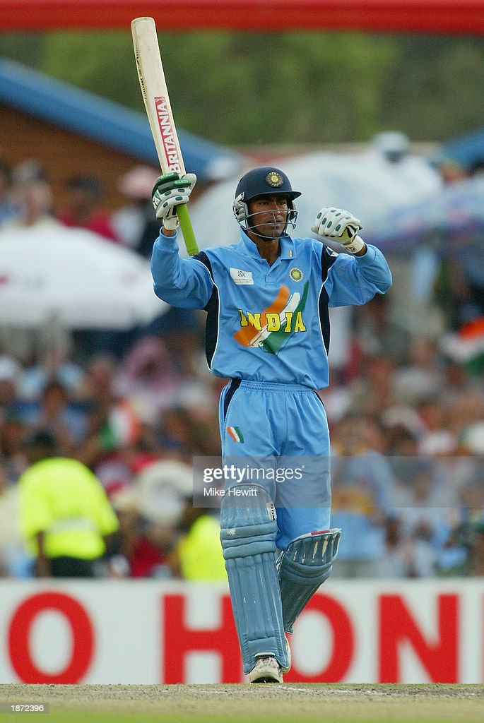 Mohammad Kaif of India celebrates his half century during the ICC Cricket World Cup Super Six match between New Zealand and India held on March 14, 2003 at Supersport Park in Centurion, South Africa. India won the match by 7 wickets.
