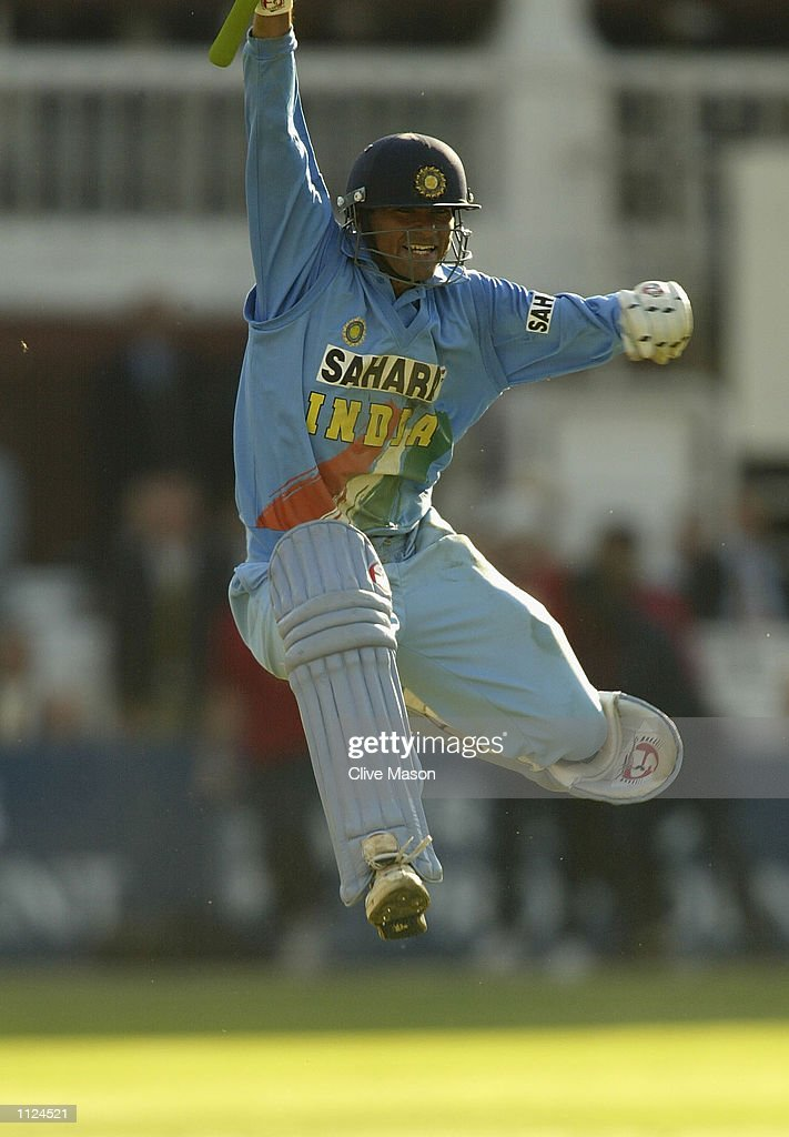 Mohammad Kaif of India celebrates their win during the match between England and India in the NatWest One Day Series Final at Lord's in London, England on July 13, 2002.