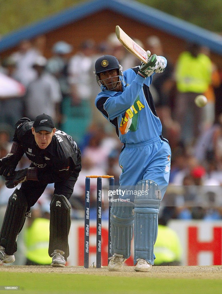 Mohammad Kaif of India hits out as Brendon McCullum of New Zealand keeps wicket during the ICC Cricket World Cup Super Six match between New Zealand and India held on March 14, 2003 at Supersport Park in Centurion, South Africa. India won the match by 7 wickets.