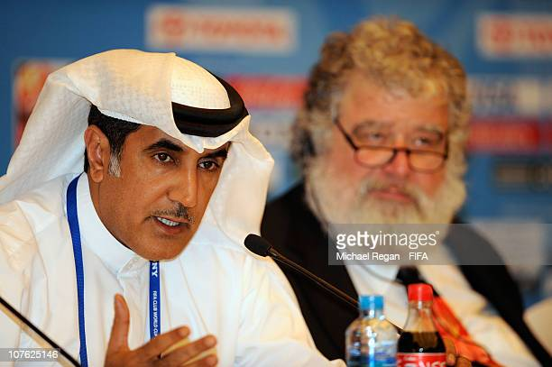 E Mohammad Khalfan Al Rumaithi UAE FA President and Chairman of the FIFA Club World Cup Local Organising Committee speaks to the media alongside OC...