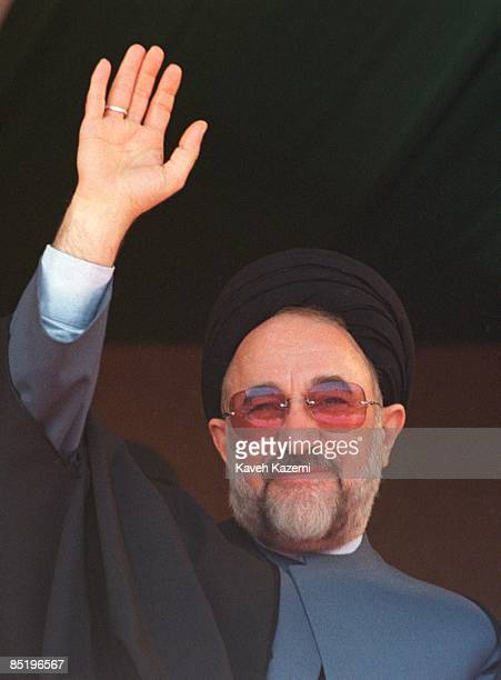 Mohammad Khatami, the reformist president of Iran, greets the crowd which has gathered to see him during his visit to the oil-rich Kharg Island in...