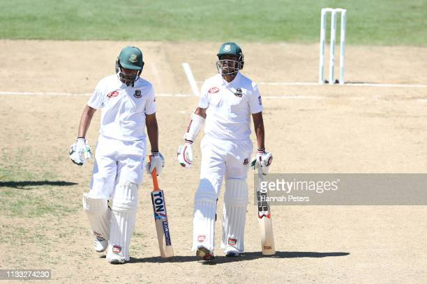 Mohammad Mahmudullah and Soumya Sarkar of Bangladesh walk off for lunch during day four of the First Test match in the series between New Zealand and...