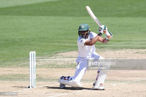 Mohammad Mahmudullah of Bangladesh bats during day four of the First Test match in the series between New Zealand and Bangladesh at Seddon Park on...